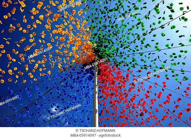 Coloured flower garlands, blue heaven