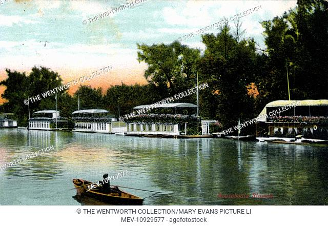 The River Thames, Staines, near Egham, Surrey, England. Showing Houseboats