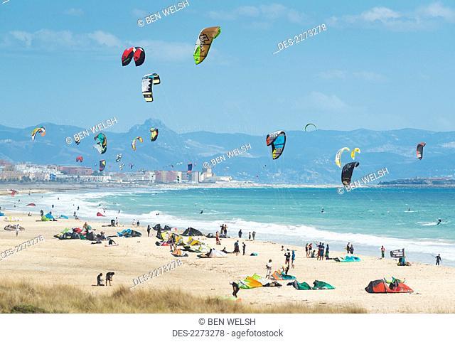 Kitesurfing along the coast, tarifa cadiz andalusia spain