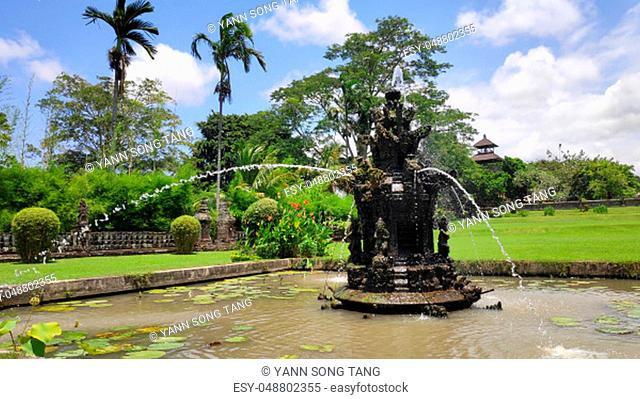 Fountain near main gate to Pura Taman Ayun Mengwi Bali Indonesia