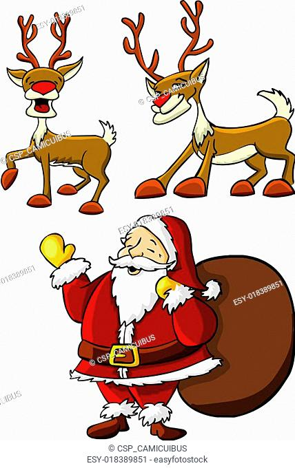 santa claus and rein deers