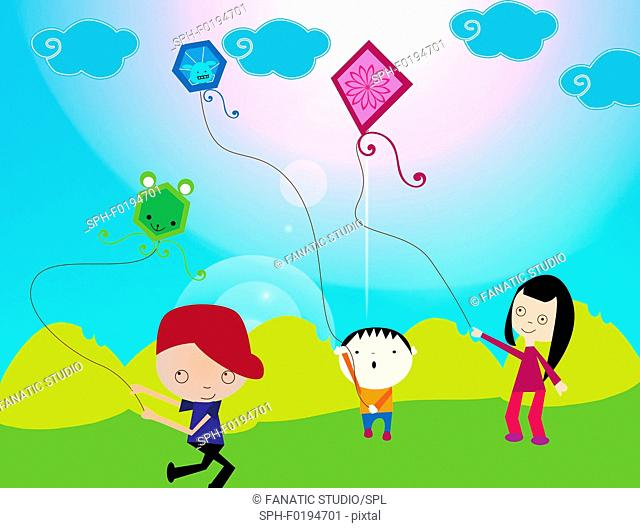 Children flying kites in a field, illustration