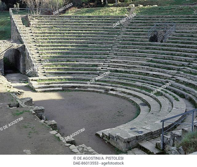 Roman Theatre, Fiesole, Tuscany, Italy. Roman civilisation, 1st century BC