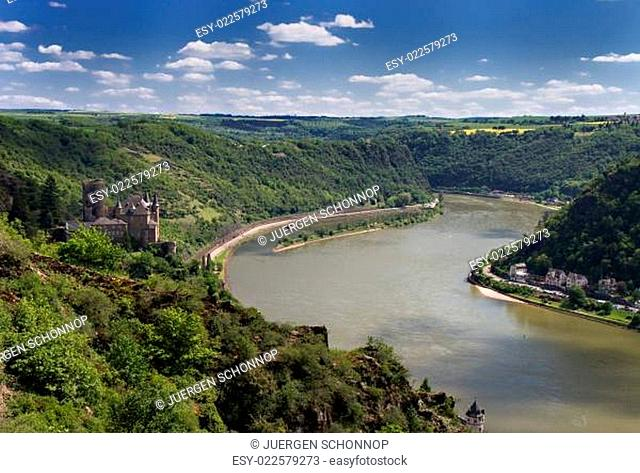 Panorama of the Rhine River Valley with Castle Katz