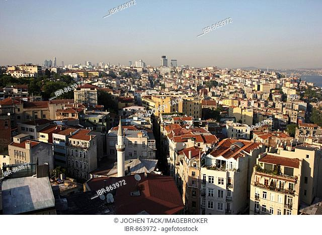 View from Galata Tower over the Galata and Beyoglu districts, Istanbul, Turkey