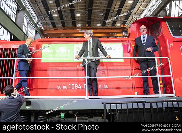 17 September 2020, Brandenburg, Cottbus: Olaf Scholz (SPD, l-r), Vice-Chancellor and Federal Minister of Finance, Andreas Scheuer (CSU)