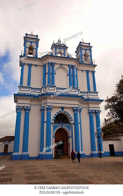 Visitors in front of the Church of Santa Lucia, San Cristobal de las Casas, Chiapas, Mexico, Central America