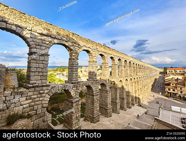 The Roman aqueduct. UNESCO World Heritage Site. Segovia. Castile and Leon. Spain