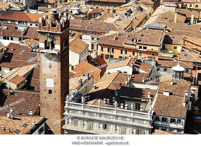 Italy, Veneto, Verona, listed as World Heritage by UNESCO, historical center seen from the top of Lamberti Tower, Gardello Tower and Maffei Palace