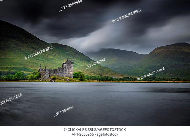 Highlands, Scotland. Kilchurn Castle during a cloudy day