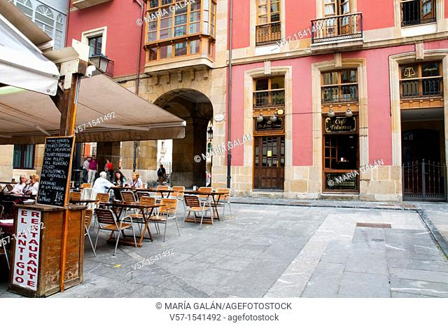 Terrace in old town. Gijón, Asturias province, Spain