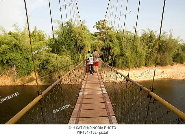Hanging bridge on tunga river in Hariharapura shimoga Karnataka India Asia
