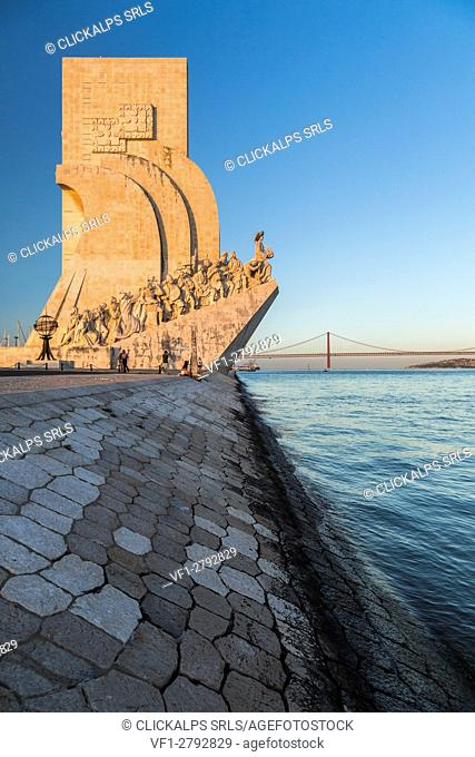 Sunset on the Tower of Belém on the bank of the Tagus River Padrão dos Descobrimentos Lisbon Portugal Europe