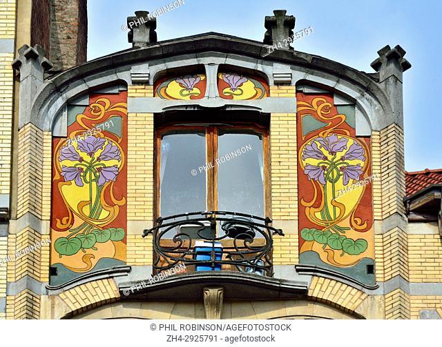 Brussels, Belgium. Art nouveau facade at13 Chaussee de Waterloo
