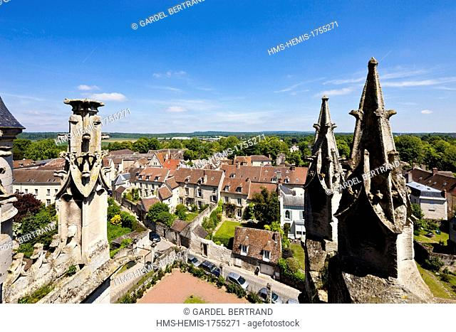 France, Oise, Senlis, overview from the gotic cathedral Notre Dame