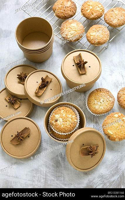 Frangipane cakes in gift boxes