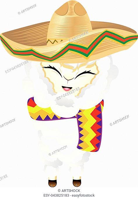 Llama or alpaca wears sombrero hat cute cartoon animal illustration
