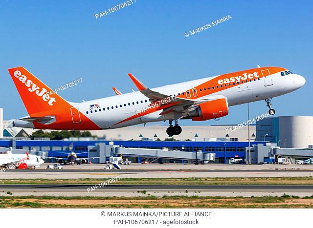 Palma de Mallorca, Spain - May 11, 2018: EasyJets Airbus A320 airplane at Palma de Mallorca airport (PMI) in Spain. | usage worldwide