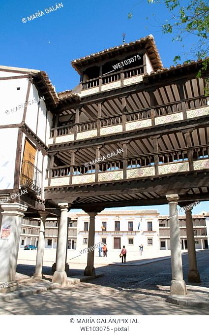 Main Square from the arcade. Tembleque, Toledo province, Castilla La Mancha, Spain