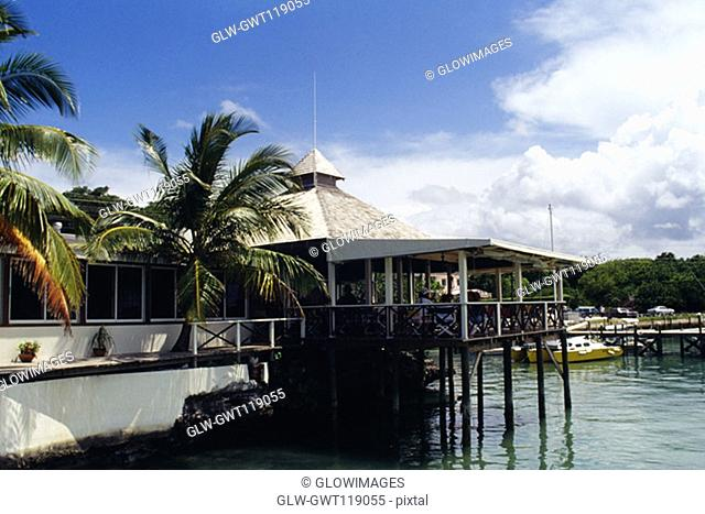 Side view of a house on stilts, Abaco, Bahamas