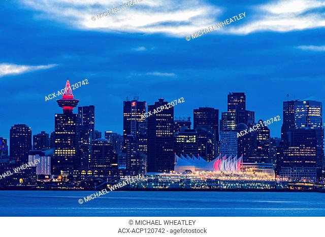 Downtown skyline at night, Vancouver, British Columbia, Canada