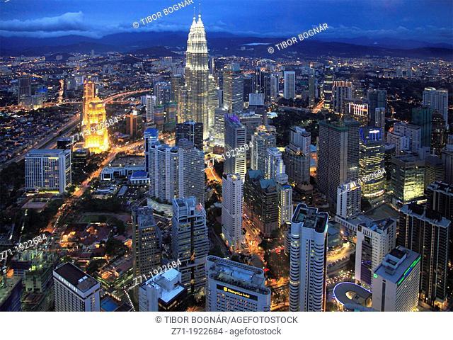 Malaysia, Kuala Lumpur, City Centre, aerial view