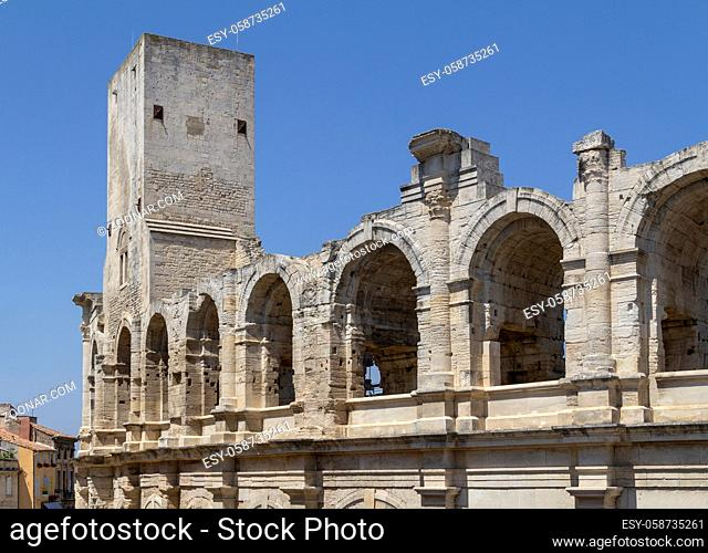 detail of the Arles Amphitheatre in Provence area in southern France
