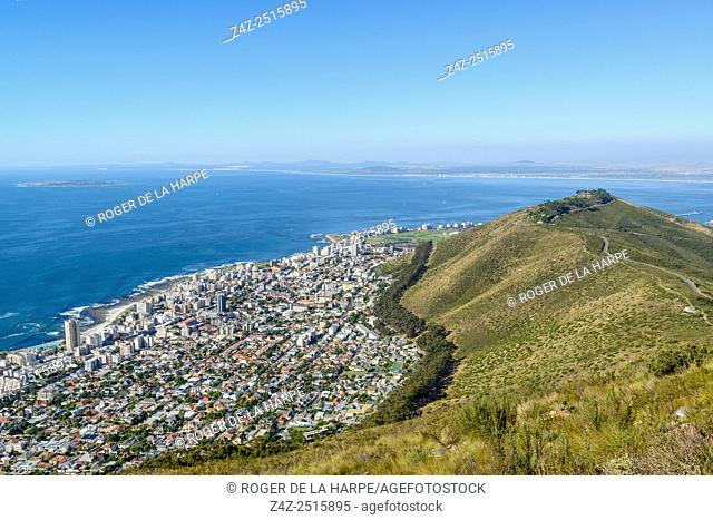 Seapoint and Signal Hill viewed from Lion's Head. Cape Town. Western Cape. South Africa
