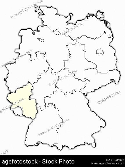 Map of Germany, Rhineland-Palatinate highlighted