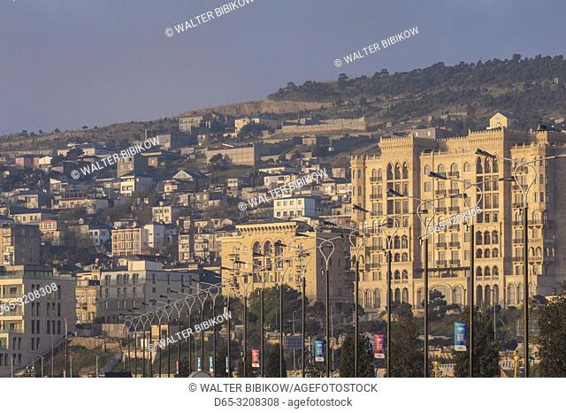 Azerbaijan, Baku, Bulvar Promenade, seafront architecture, dawn