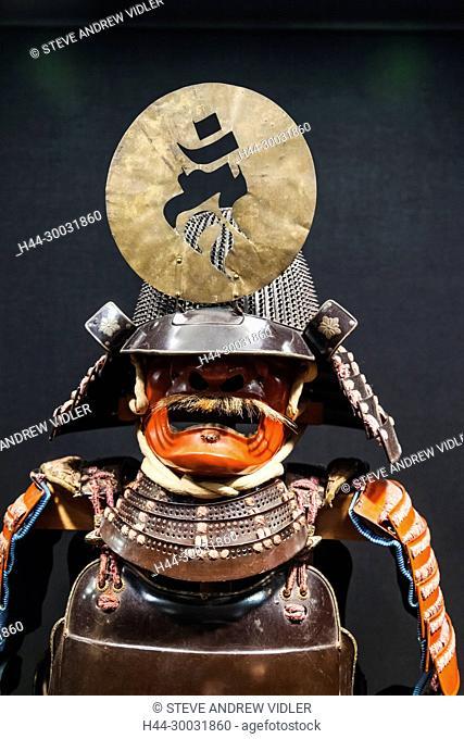 Japan, Honshu, Kanagawa Prefecture, Odawara, Odawara Castle, Tokiwagimon Gate, Samurai Gallery, Exhibit of Historic Japanese Armour