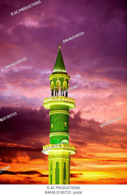 Illuminated tower against sunset sky, Doha, Doha, Qatar