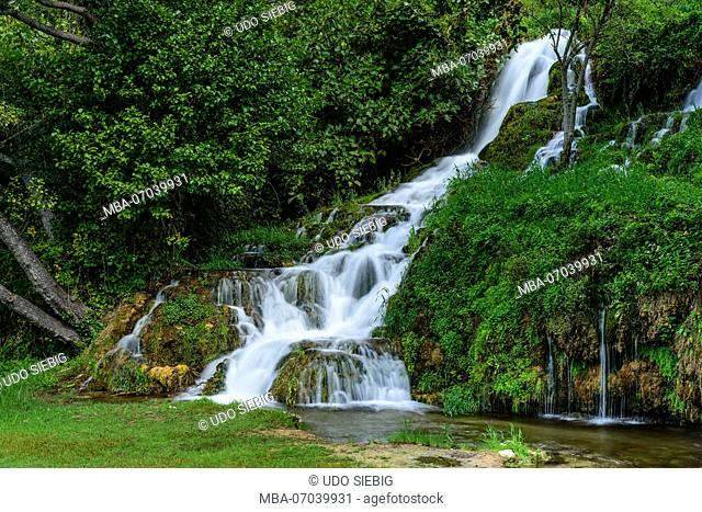 Croatia, Dalmatia, region of Sibenik, Krka National Park, Roski Slap, waterfall