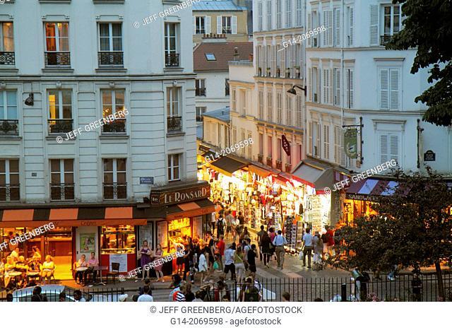 France, Europe, French, Paris, 18th arrondissement, Montmatre, Place Saint St. Pierre, Rue de Steinkerque, view from Square Louise Michel, night, nightlife