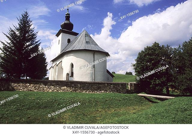 Isolated gothic church dedicated to St  John the Baptist, located at the geographical center of Europe, Kremnicke Bane, Slovakia