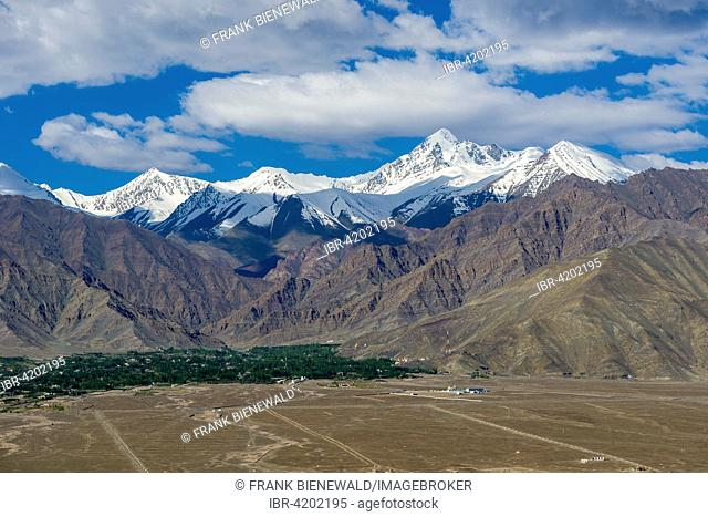 The village Stock in the Indus valley at the foot of the Stock Kangri Mountain Range, Stock, Jammu and Kashmir, India