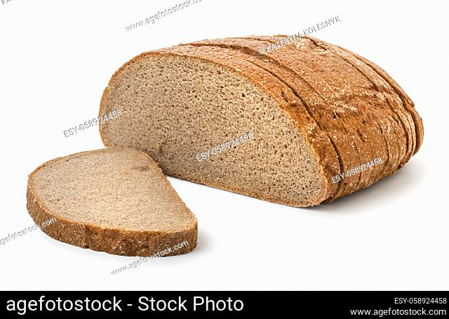 Round brown bread isolated on a white background