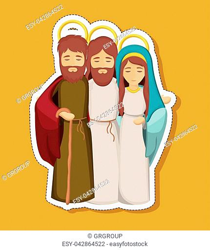 jesus mary and joseph cartoon icon. Holy night family christmas and betlehem theme. Colorful design. Vector illustration