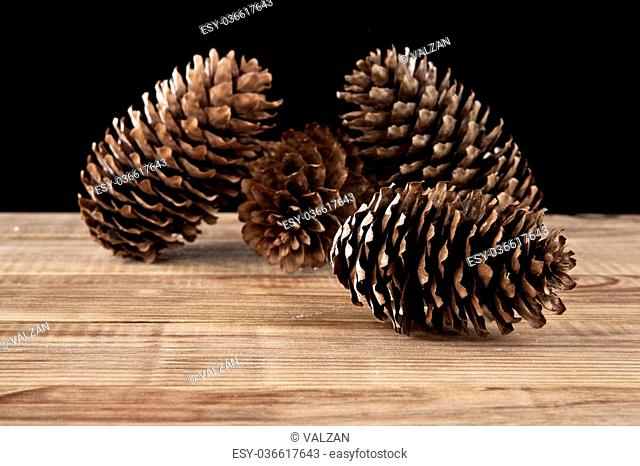 cones on a black background