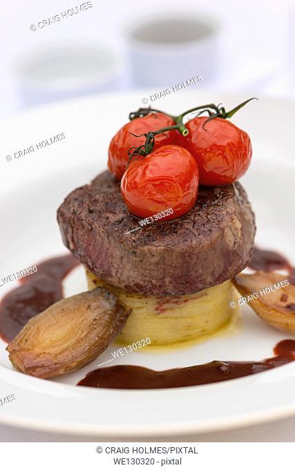 Beef steak, served in a fine dining restaurant