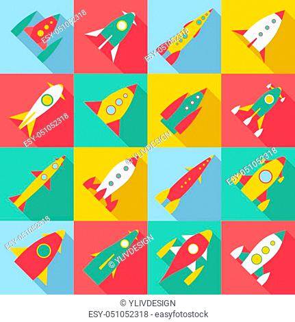 Rocket launch icons set. Flat illustration of 16 rocket launch icons for web