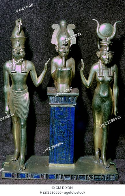 Gold statuettes of Osiris, Horus, and Isis, from the jewellery of King Orsokon, from the Louvre's collection