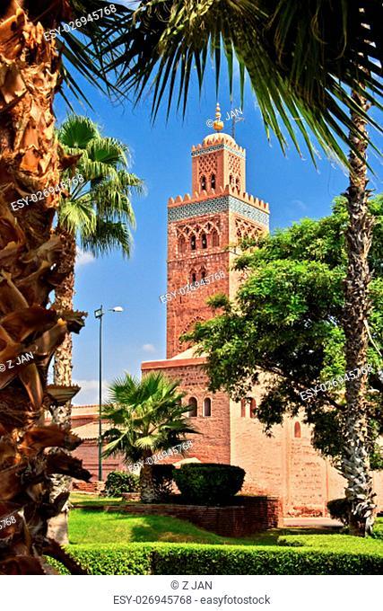 Koutoubia Mosque in the southwest medina quarter of Marrakesh, Morocco