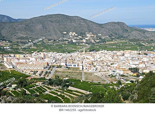 Pego town, valley, mountains, overview, Marina Alta area, Costa Blanca, Alicante province, Spain, Europe