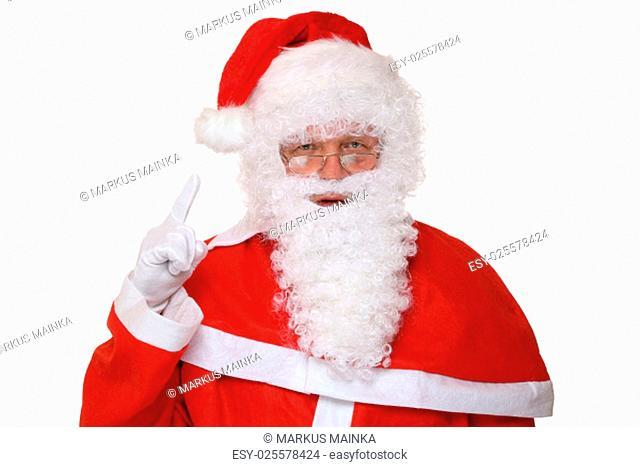 santa claus raises a finger christmas portrait exempted against a white background