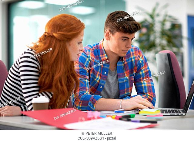 Young female and male college students looking at laptop on desk