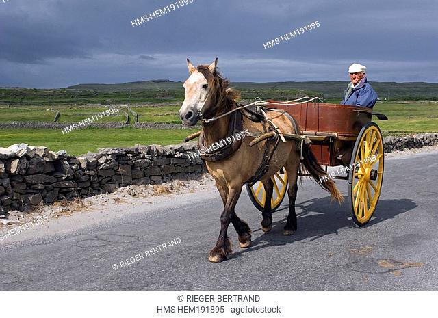 Ireland, County Galway, Aran Islands, Inishmore, Aran inhabitant on a barouche