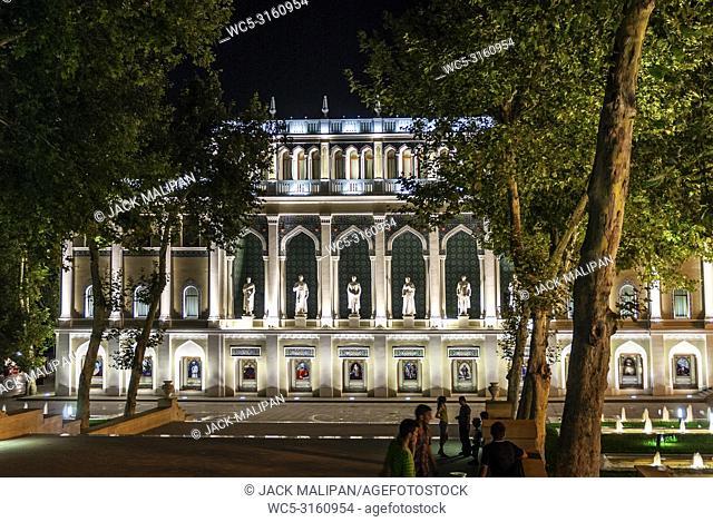 Literature Museum landmark in downtown baku city azerbaijan at night