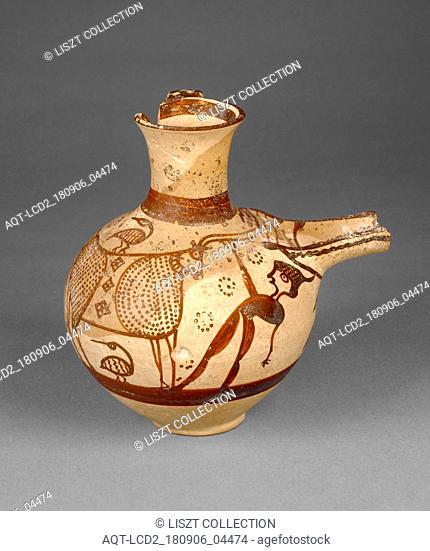 Jug with a Man and a Bull; Attributed to Painter 20 (Mycenaean, active 1250 B.C. - 1225 B.C.); Tiryns (?), Greece; 1250 - 1225 B.C; Terracotta; 16