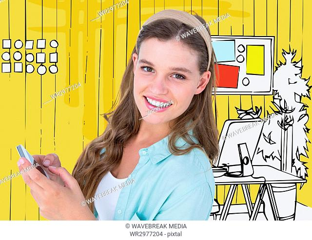 Millennial woman with phone against yellow hand drawn office